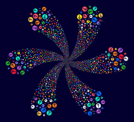 Multicolored Query exploding composition on a dark background. Impressive spiral organized from randomized query items. Stock Photo