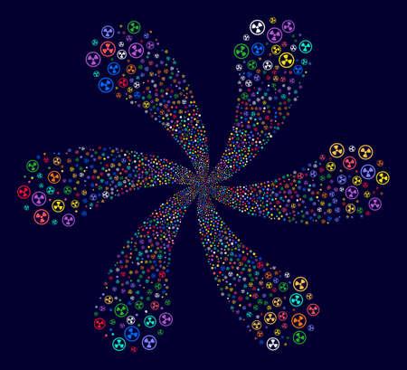 Bright Radioactive centrifugal burst on a dark background. Impressive centrifugal explosion created from scattered radioactive symbols.
