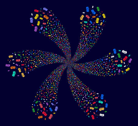 Colorful Projector swirl fireworks on a dark background. Impressive flower with six petals combined from scattered projector symbols.