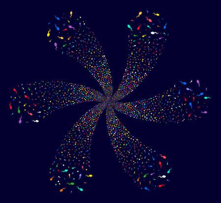Psychedelic Spermatozoon swirl flower cluster on a dark background. Impressive twirl created from randomized spermatozoon objects.