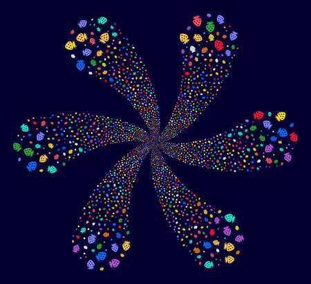 Multi Colored Strawberry cyclonic bang on a dark background. Hypnotic spiral done from scattered strawberry symbols.