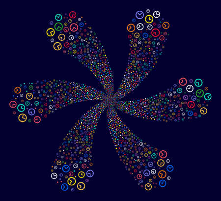 Psychedelic Time cyclonic flower cluster on a dark background. Psychedelic cluster created from randomized time symbols.