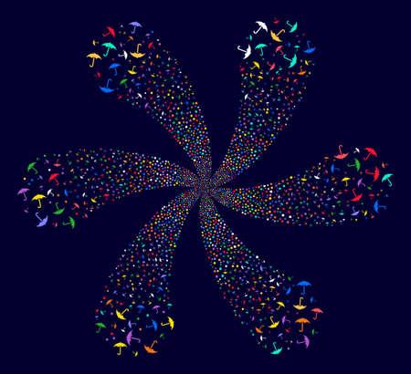 Multicolored Umbrella cyclonic fireworks on a dark background. Suggestive cluster designed from random umbrella symbols.