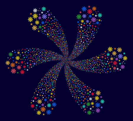 Bright Virus cyclonic flower shape on a dark background. Suggestive cluster composed from randomized virus symbols.