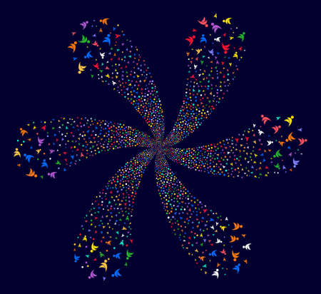 Multi Colored Winged Man cyclonic fireworks on a dark background. Suggestive flower with six petals done from random winged man objects.