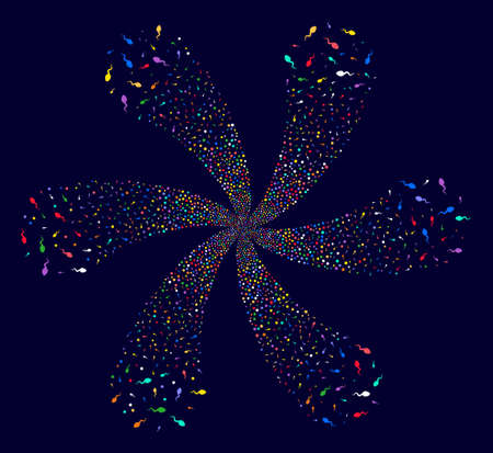 Attractive Spermatozoon rotation motion on a dark background Vector abstraction. Psychedelic flower combined from scattered spermatozoon items.