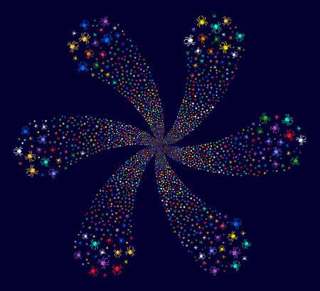 Bright Spider swirl flower with 6 petals on a dark background Vector abstraction. Hypnotic twirl designed from random spider items.