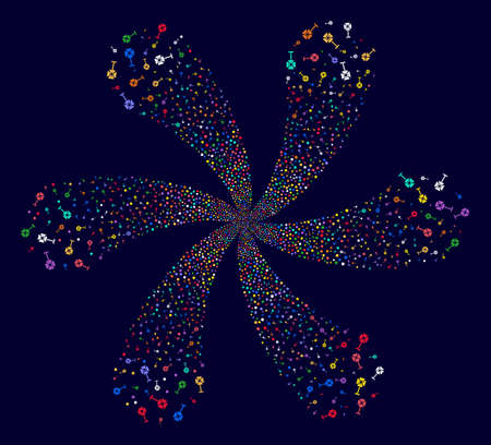 Bright Spotlight Rack cyclonic flower cluster on a dark background. Vector abstraction. Impressive twirl composed from scatter spotlight rack items.