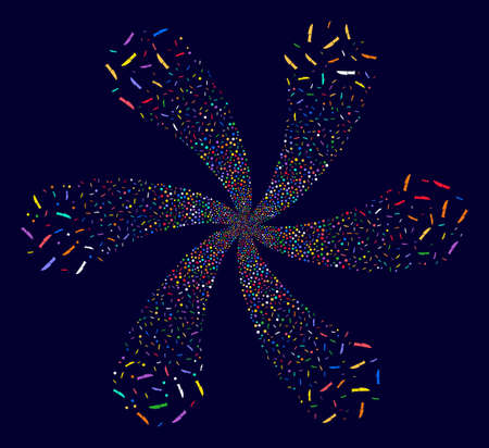 Attractive Surgery Knife explosion composition on a dark background. Vector abstraction. Psychedelic flower with six petals designed from random surgery knife objects.