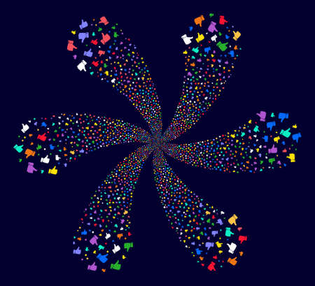 Multi Colored Thumb Up cycle flower with six petals on a dark background. Vector abstraction. Psychedelic whirlpool designed from scattered thumb up items. Illustration