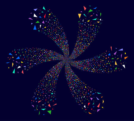 Attractive Triangular Fragments twirl twist on a dark background. Vector abstraction. Suggestive cluster done from scattered triangular fragments items.