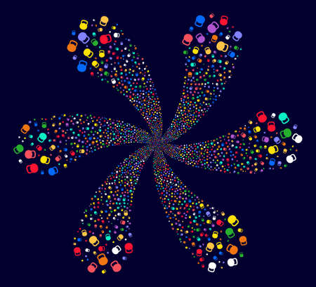 Colorful Weight swirl flower shape on a dark background. Vector abstraction. Impressive centrifugal explosion combined from randomized weight items.