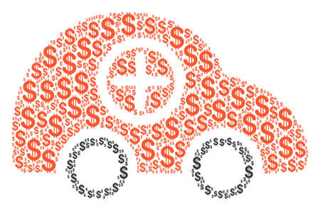 Ambulance Car collage of dollar symbols. Vector dollar currency pictograms are combined into ambulance car composition.