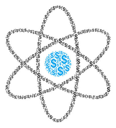 Atom composition of dollars. Vector dollar currency symbols are organized into atom illustration. Ilustrace