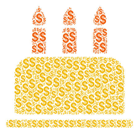 Birthday Cake mosaic of american dollars. Vector dollar currency pictograms are united into birthday cake composition. Illustration