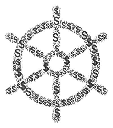 Bootstuurwielcollage van Amerikaanse dollars. Vector dollar valutasymbolen worden gecombineerd in mozaïek van het bootstuurwiel. Stock Illustratie