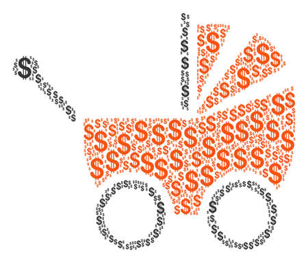 Baby Carriage collage of american dollars. Vector dollar symbols are united into baby carriage illustration.