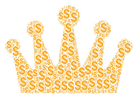 Crown composition of american dollars. Vector dollar icons are united into crown illustration. Illustration