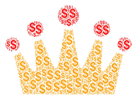Crown composition of dollar symbols. Vector dollar currency symbols are organized into crown mosaic.