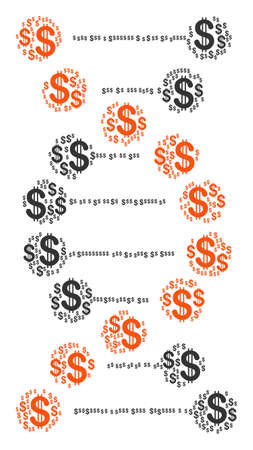 DNA mosaic of american dollars. Vector dollar icons are combined into dna illustration.