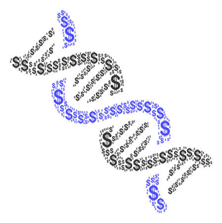 DNA Spiral mosaic of american dollars. Vector dollar pictograms are united into dna spiral collage. Illustration