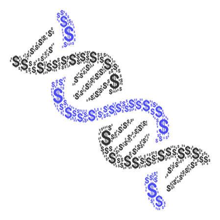 Mosaico espiral de ADN de dólares americanos. Pictogramas de dólar de vector se unen en el collage espiral de ADN.