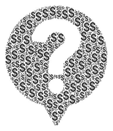 Help Balloon collage of dollar symbols. Vector dollar pictograms are united into help balloon mosaic. Illustration