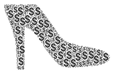Lady Shoe collage of american dollars. Vector dollar currency icons are organized into lady shoe collage. Çizim