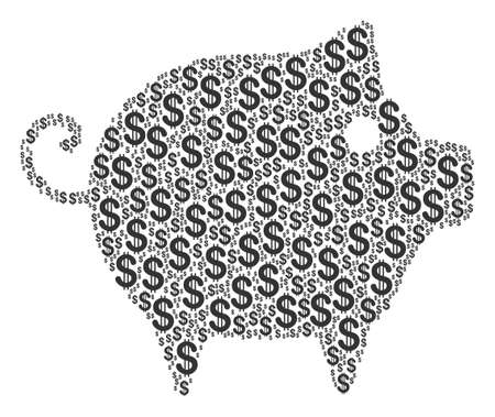 Piggy collage of dollars. Vector dollar symbols are grouped into piggy composition. Illustration