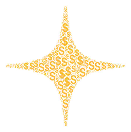 Space Star mosaic of dollar symbols. Vector dollar pictograms are organized into space star composition.