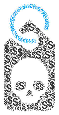 Death Skull Tag mosaic of dollars. Vector dollar pictograms are organized into death skull tag illustration.