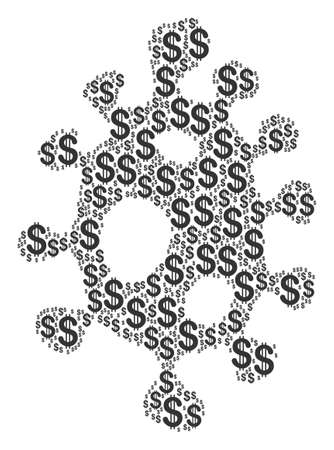 Infection Cell composition of dollars. Raster dollar pictograms are composed into infection cell composition.