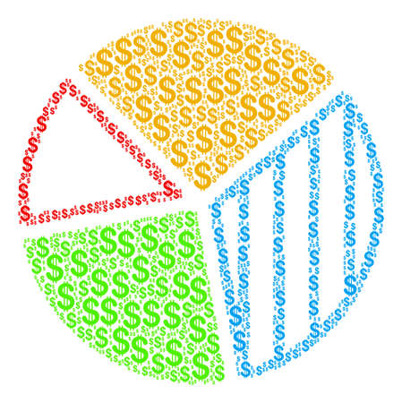 Pie Chart mosaic of dollars. Raster dollar symbols are composed into pie chart collage.