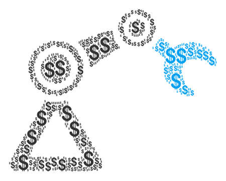 Robotics Manipulator composition of dollars. Raster dollar pictograms are composed into robotics manipulator illustration.