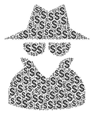 Spy composition of american dollars. Raster dollar currency pictograms are united into spy composition.