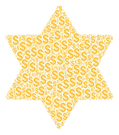 Six Pointed Star collage of american dollars. Raster dollar symbols are organized into six pointed star illustration.