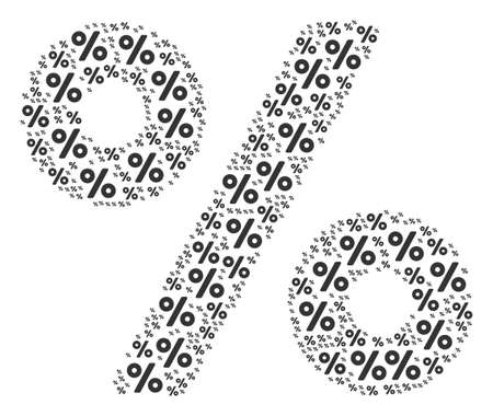 Percent figure constructed in the figure of percent pictograms. Raster iconized collage composed with simple pictograms. Stock Photo