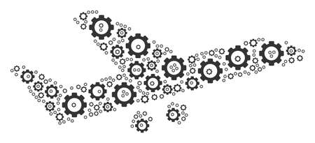 Aiplane collage of cogs. Vector gear elements are combined into aiplane composition.