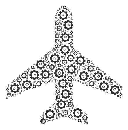 Air Plane collage of gearwheels.  Gear parts are combined into air plane composition. Illustration