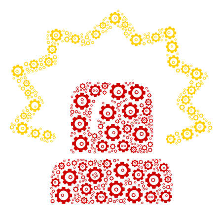 Alarm collage of cogwheels. Vector cog pictograms are combined into alarm composition.