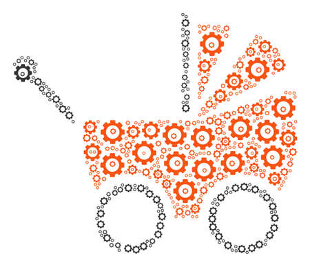 Baby Carriage composition of gears. Vector cog wheel components are combined into baby carriage collage. Illustration