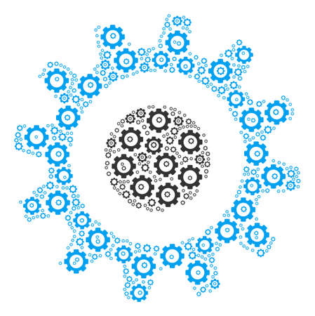Cogwheel collage of gear icons. Vector gear items are grouped into cogwheel shape.