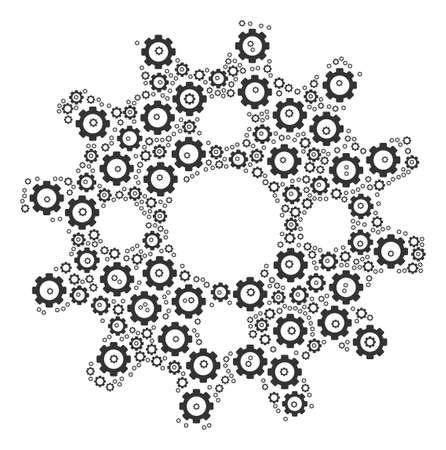 Cogwheel composition of vector gears. Vector cog wheel elements are composed into cogwheel mosaic.