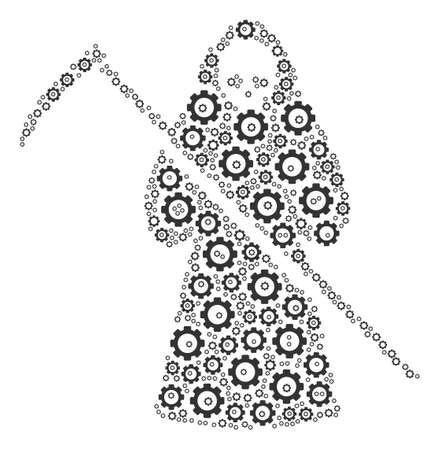 Death Scytheman composition of gears. Vector gear icons are organized into death scytheman figure.