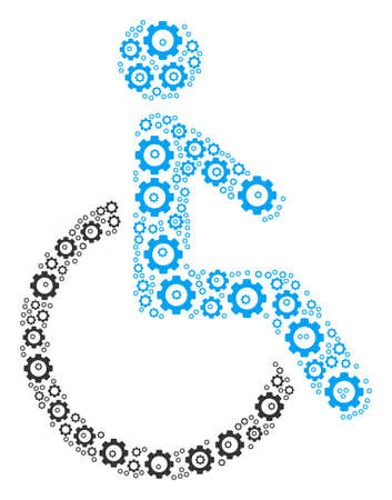 Disabled Person collage of cogwheels. Vector gear symbols are organized into disabled person collage.
