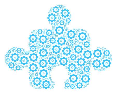 Component composition of cogwheels. Vector cogwheel symbols are combined into component pattern. Illusztráció