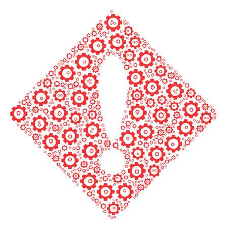 Error mosaic of cog wheels. Vector gear wheel icons are grouped into error mosaic. Illustration