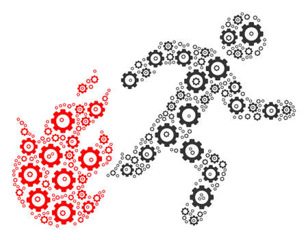 Fired Running Man composition of tooth gears. Vector tooth gear icons are united into fired running man composition. Illustration
