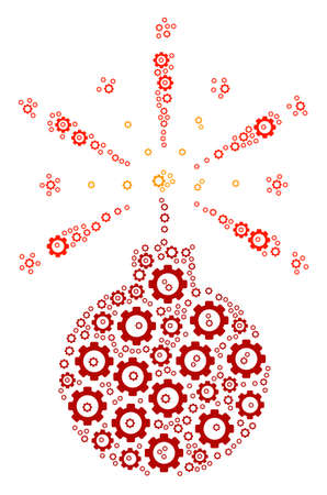 Fireworks Detonator mosaic of vector gears. Vector cog wheel icons are grouped into fireworks detonator illustration.
