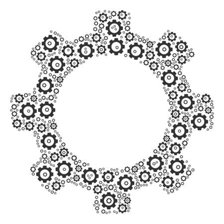 Gear collage of tooth gears. Vector gear pictograms are grouped into gear mosaic.